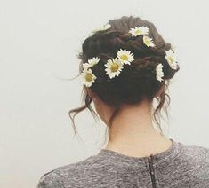 braided updo with cute daisies!