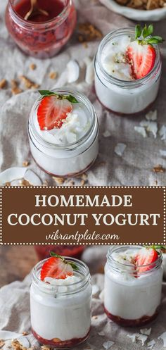 Homemade Coconut Yogurt is a great dairy-free plant-based alternative.Gluten-free, vegan and low carb, this yogurt only uses 2 ingredients! More from my siteHomemade Coconut YogurtHow to make Coconut Yogurt – and Easy Dairy Free Appetizers, Dairy Free Keto Recipes, Dairy Free Soup, Dairy Free Alternatives, Dairy Free Yogurt, Vegan Yogurt, Dairy Free Cheese, Kefir Yogurt, Breakfast
