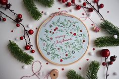 Original art by Amy Sinibaldi Merry Christmas and all the joys the season brings! This charming stitchery includes a few of our favorite things nestled in amongst the winter greenery. I hope youll enjoy stitching this for yourself or a loved one! Youll get: * the embroidery pattern PDF