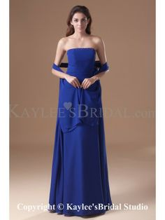 Chiffon Strapless Floor Length Column Beading Prom Dress