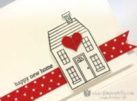 The charming home was stamped with Tuxedo Black Memento Ink (love the stuff for crisp, even images) and then cropped with the coordinating Homemade Holiday Framelits Die. Popping it up on Stampin' Dimensionals gives it a 3-D look. Use Heart Punch from Itty Bitty Punch OR Owl Punch.