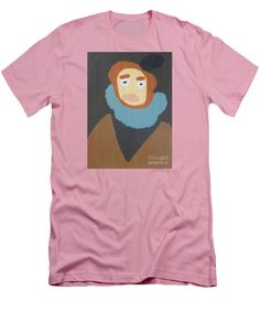 Patrick Francis Pink Designer Slim Fit T-Shirt featuring the painting Portrait Of Maria Anna 2015 - After Diego Velazquez by Patrick Francis