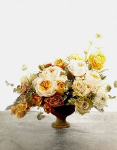 White, yellow and bronze arrangement #fall #autumn #wedding #flowers
