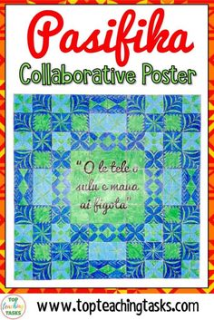 Talofa! Mālō e lelei! Kia Orana! Fakaalofa atu! Bring the vibrancy of the Pacific Islands into your classroom while encouraging collaboration and teamwork with this fun and interactive Growth Mindset Collaborative Poster. This poster features authentic Polynesian designs from Samoa, Tonga, the Cook Islands, Niue and Tokelau. It would be a great back to school resource to build a culture of collaboration, teamwork, and cultural diversity in your classroom.