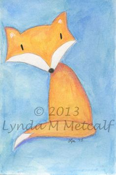 Fox Painting Original 4x6 Watercolor Painting by LyndaMMetcalf