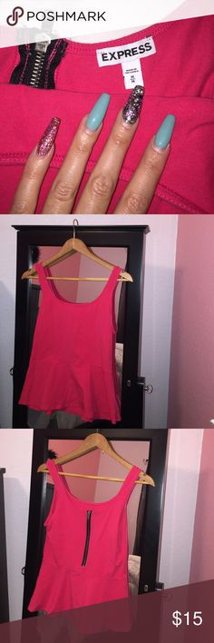 Hot pink express peplum top Basically brand-new hot pink peplum express size medium top! Goes great with any color jeans. Express Tops Blouses