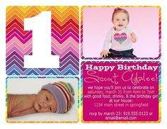 rainbow chevron striped 1st birthday invitation 1 Year Birthday, 1st Birthday Parties, Girl Birthday, Happy Birthday, Birthday Ideas, Rainbow Birthday Invitations, Rainbow Chevron, Colorful Party, Project Nursery