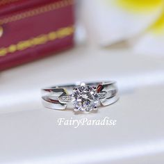 1 carat split shank engagement ring / Unique promise ring / wedding ring , man made diamond, sterling silver, Free ring box (Fairy Paradise)