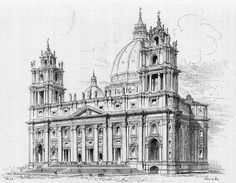 s unbuilt design for the front facade of St.s, Vatican City Cathedral Architecture, Roman Architecture, Classic Architecture, Architecture Drawings, Architecture Details, City Drawing, St Peters Basilica, Neoclassical Architecture, Building Sketch