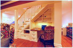 desk under basement stairs