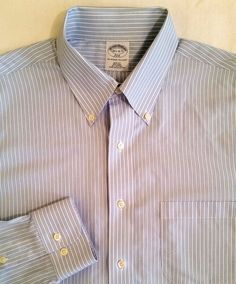Brooks Brothers Men's Slim Fit Non Iron Long Sleeved Blue Dress Shirt 16.5  #BrooksBrothers