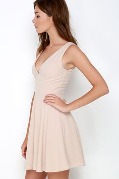Sublime Time Beige Skater Dress at Lulus.com!