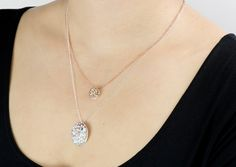 Layered look.  Blue Moon Pendant and Io pendant (one of Jupiter's Moons): Rose Gold Vermeil with Golden Sapphire.