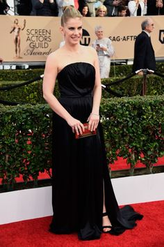 Anna Chlumsky in a black strapless gownat the 22nd Annual Screen Actors Guild Awards at The Shrine Auditorium on January 30, 2016 in Los Angeles, California.