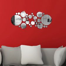 28Pcs 3D DIY Miroir Cercle Autocollant Mural Mur Sticker Décor Amovible Maison