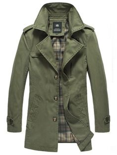 Army Green Lapel Single-Breasted Cotton Polyester Slim Mens Trench Coats M/L/XL/XXL 416A-3028-95ag