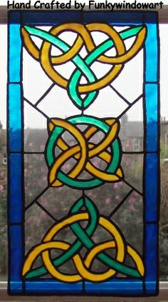 Celtic Knot Pattern 4 Static Window Cling Hand Painted Clings Art Stained Glass Effects Suncatchers Decals