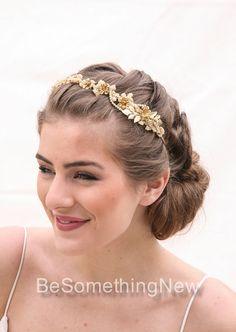 Vintage Lace and Gold Rhinestone Headband Tiara by BeSomethingNew