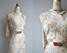 Aria de Bravura dress vintage 1930s dress silk floral 30s