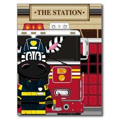 Cute Cartoon Zebra Fireman Post Cards