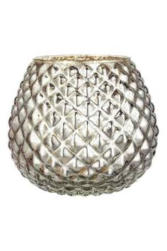 Large glass vase: Large vase in textured glass. Diameter at the top 13 cm, height 26 cm.