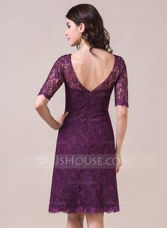 A-Line/Princess Scoop Neck Knee-Length Lace Bridesmaid Dress (007056861)
