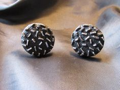 Black Round Cuff Links with Raised Silver Tone by DresdenCreations, $12.00