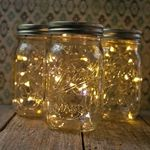 Mason Jar Fairy Lights, Pint Small Mouth, Warm White, Set of 3
