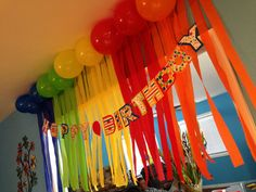 Super Easy! I used packing tape folded in 1/2 to stick streamer to the walls. ((I was a little worried about it not sticking, falling off, or worse taking the paint off the wall, but NOPE)) Rainbow Birthday Elmo Party Easy and cheap decorations last minute planning