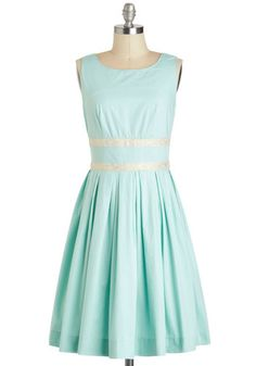 Convivial Pursuit Dress - Blue, Solid, Pleats, Vintage Inspired, 50s, A-line, Sleeveless, Spring, Fit & Flare, Cotton, Long, Tan / Cream, Silver, Daytime Party