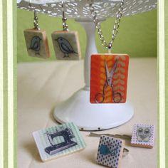 Random Nicole DIY scrabble game tile pendant kit- crafty, sewing machine, knitting, bird, owl, scissors