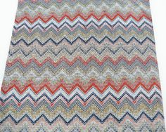 Hipster Gray Red and Blue Chevron Fabric Printed by felinusfabrics