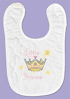 Little Princess From our Neat and Nifty line, Little Princess is for all our little Princesses out there. With a crown and wand to show who is boss.   New velcro closure!   Kit contains: One screen-printed 50% polyester/ 50% cotton prefinished quilted bib, 6-strand cotton floss, floss card, needle, graph,instructions.