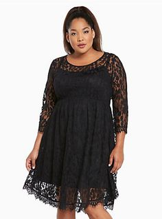 20b7074535c Plus Size Lace V-Hem Skater Dress