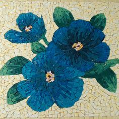 Blue Flower Mosaic Side Table With Storage by LiveInMosaics, $460.00