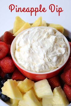 Pineapple Dip - Requires just 4 simple ingredients and can be made so quick. An easy dip that is great for dipping fruit, Nilla Wafers, and more! fil a super food salad recipe Pineapple Dip Dessert Dips, Dessert Recipes, Pineapple Dip, Pineapple Delight, Dip Recipes, Cooking Recipes, Recipies, Yummy Food, Tasty