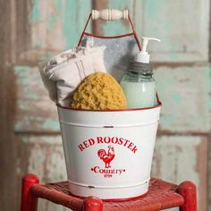 "This vintage ""Red Rooster"" bucket caddy is perfect for any room in your home or garden. The ""Red Rooster"" bucket is 9 inches in diameter and 16 inches tall. Features a a divider in the middle. (Accessories not included. Bathroom Caddy, Bathroom Red, Red Bathrooms, Bathroom Ideas, Brick Bathroom, Granite Bathroom, Bathrooms Decor, Country Bathrooms, Bathroom Basin"