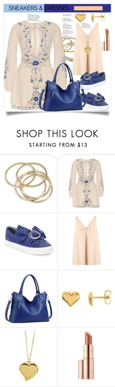 """""""Sporty Chic: Sneakers and Dresses"""" by helenaymangual ❤ liked on Polyvore featuring ABS by Allen Schwartz, Chiara Ferragni, STELLA McCARTNEY, West Coast Jewelry, Estée Lauder and sneakers"""