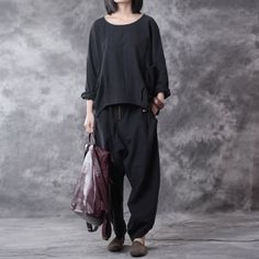 Casual Linen Loose Women Black Twinset