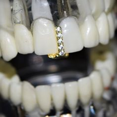 14K Gold Plated Gap Grillz Top Or Bottom Teeth Hip Hop Iced-Out One Single Tooth Bling Grills Image 6 of 6