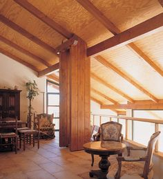 Panel sandwich de madera THERMOCHIP® TFH con rechapado en pino ranurado | #panel #madera #techo #decoracion #interior #design #architecture