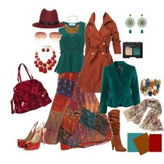 Fashion - Summer to Fall Transition...    teal, orange, brown, camel, red,