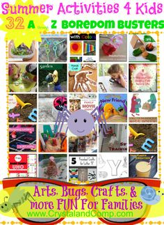 Ready for some summer activities for kids that are sure boredom busters? Then check out this awesome list of 32 A through Z Boredom Buster for your family to Summer Activities For Toddlers, Summer Fun For Kids, Craft Activities, Toddler Activities, Ocean Activities, Summer Crafts, Crafts For Kids, Boredom Busters For Kids, Kids Corner