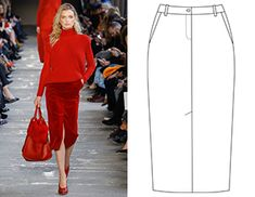 Ready-made pattern of a pencil skirt