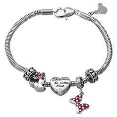 """Disney® Minnie Mouse Stainless Steel """"Dreams do Come True"""" Bracelet Bundle Set - Multicolor (7.5"""")"""