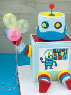 Robot CakeRobot Cake - by Elisabeth @ boys cake party birthday robot cake yellow orange blue kid kids CakesDecor.com - cake decorating website