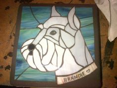 Schnauzer stained glass stepping stone