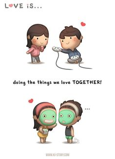HJ-Story :: Love is. Doing things together! Hj Story, Cute Love Stories, Love Story, What Is Love, My Love, Cute Love Cartoons, Love My Husband, Love Illustration, Funny Love