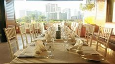 With a backdrop of the Waikiki skyline, this modern reception is effortlessly chic. #WeddingWednesday #TrumpWaikiki #Waikiki #Hawaii #WeddingPlanning #Bride #Reception #Venue #Paradise #Destination #Romantic #Love  Trump International Hotel Waikiki Beach Walk