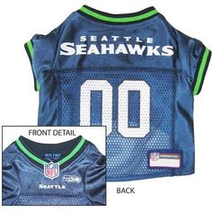 Seattle Seahawks NFL Dog Jersey - Extra Small  15% Discount - Use code DOGGIE at Checkout   http://www.gingersdoggieheaven.com #SeattleSeahawks 15% Discount - Use code DOGGIE at Checkout